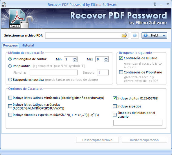 Capture d'écran Eltima Recover PDF Password Mac
