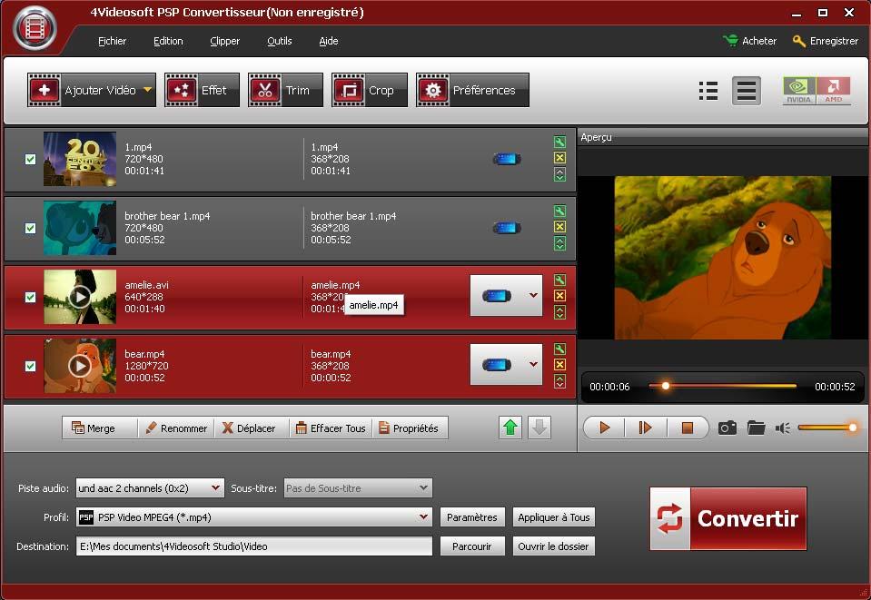 Capture d'écran 4Videosoft PSP Convertisseur