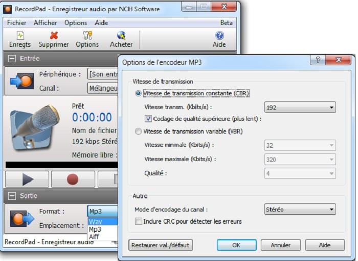 Capture d'écran RecordPad – Enregistreur sonore
