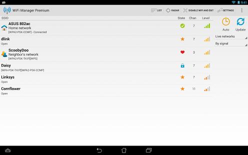 Capture d'écran WiFi Manager