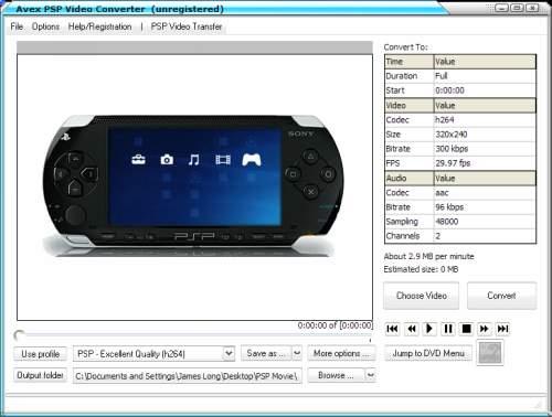 Capture d'écran Avex PSP Video Converter