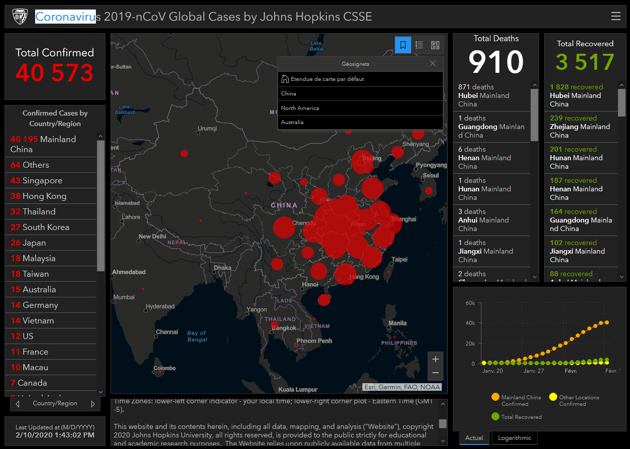 Capture d'écran Coronavirus 2019-nCoV Global Cases