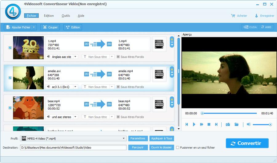 Capture d'écran 4Videosof Convertisseur Vidéo
