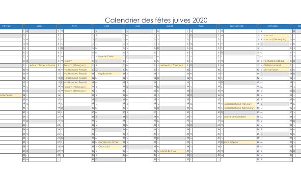 Capture d'écran Calendrier Juif 2019-2020