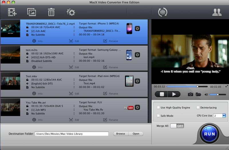 Capture d'écran MacX Video Converter Free Edition