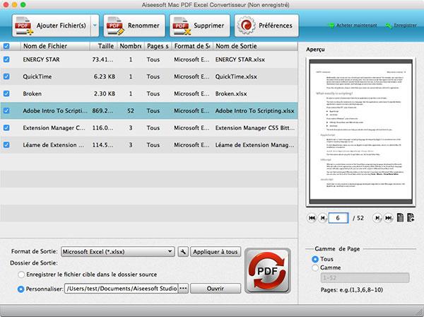 Capture d'écran Aiseesoft Mac PDF Excel Convertisseur