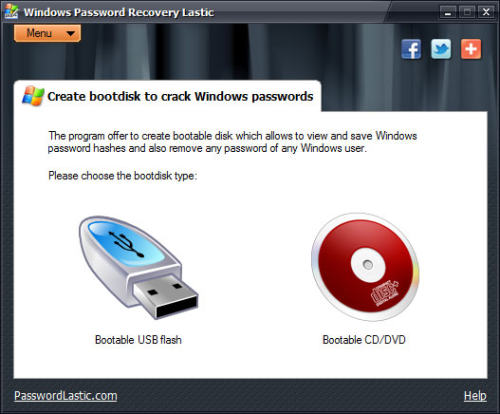 Capture d'écran Windows Password Recovery Lastic