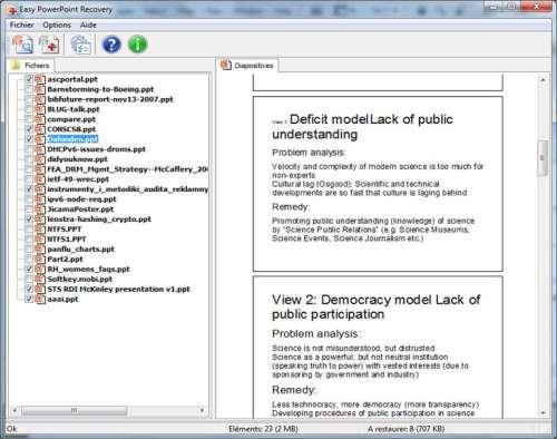 Capture d'écran Easy PowerPoint Recovery
