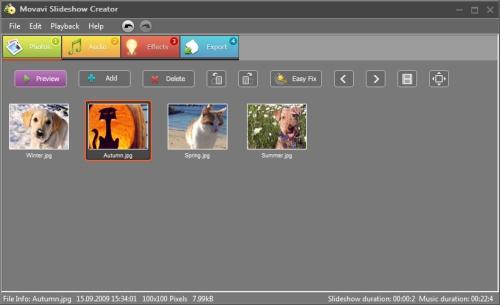 Capture d'écran Movavi Slideshow Creator