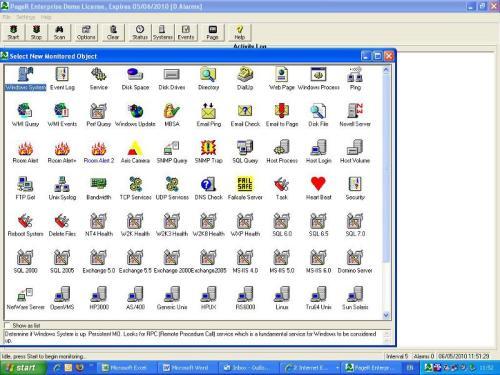 Capture d'écran PageR Enterprise Network Monitoring