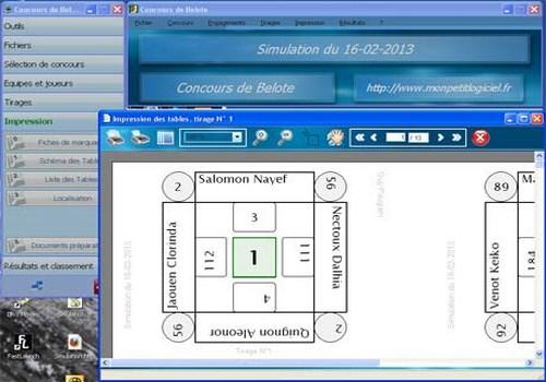 Capture d'écran Organisation de concours de belote
