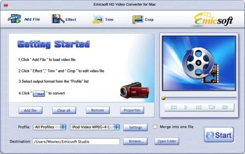 Capture d'écran Emicsoft HD Vidéo Convertisseur pour Mac