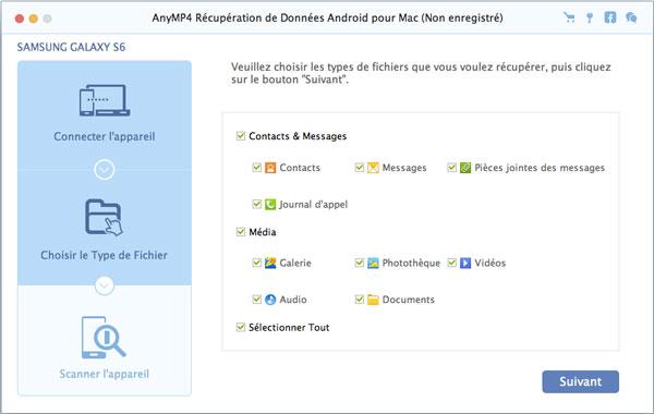 Capture d'écran AnyMP4 Récupération de Données Android pour Mac