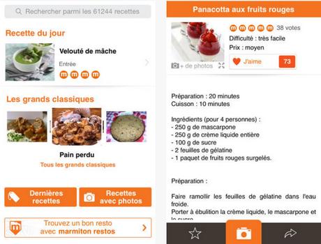 Capture d'écran Marmiton iOS