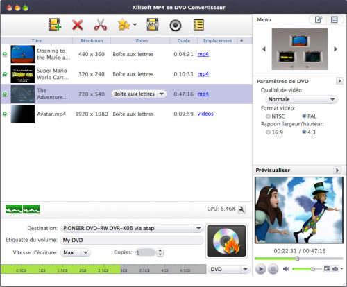 Capture d'écran Xilisoft MP4 en DVD Convertisseur Mac