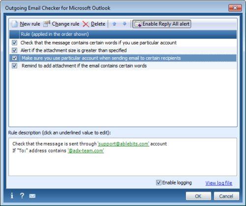 Capture d'écran Outgoing Email Checker for Outlook