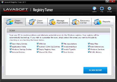 Capture d'écran Registry Tuner