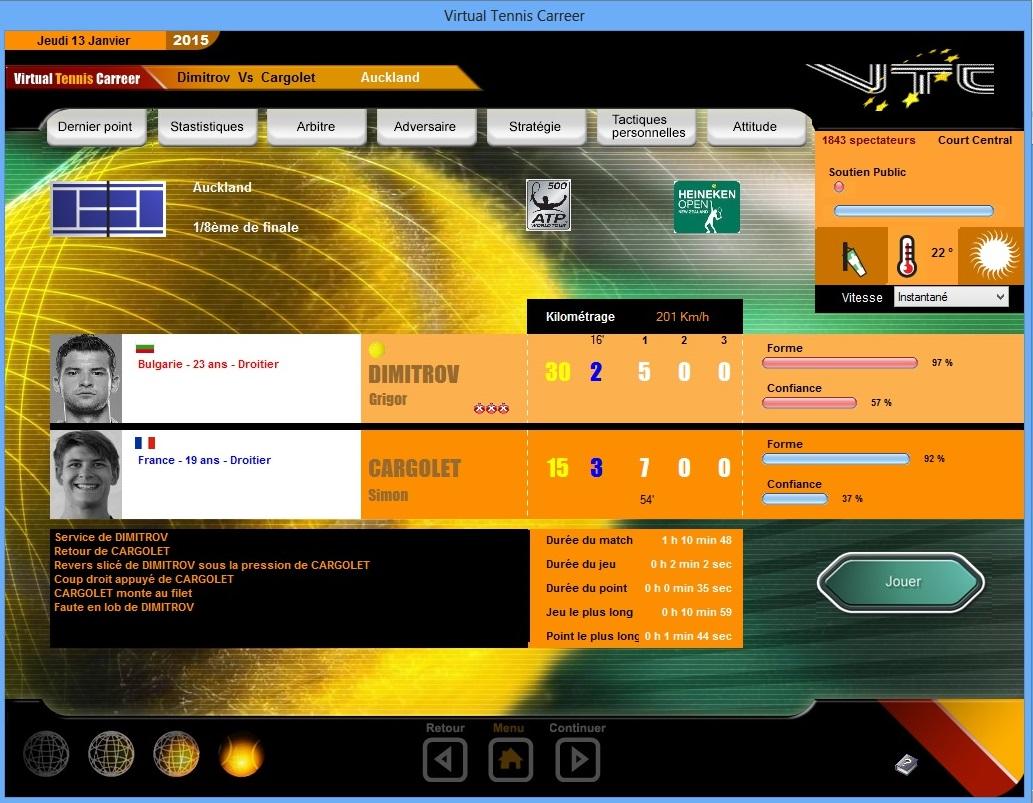 Capture d'écran Virtual Tennis Carreer 2015