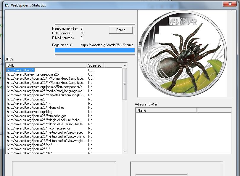 Capture d'écran WebMarketing Spider