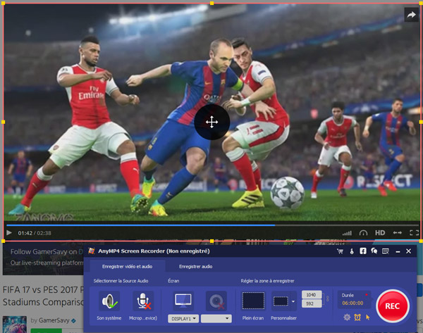 Capture d'écran AnyMP4 Screen Recorder