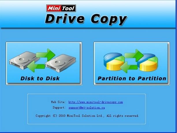 Capture d'écran Minitool Drive Copy