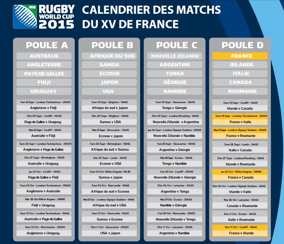 Capture d'écran Calendrier du XV de France pour la coupe du monde 2015