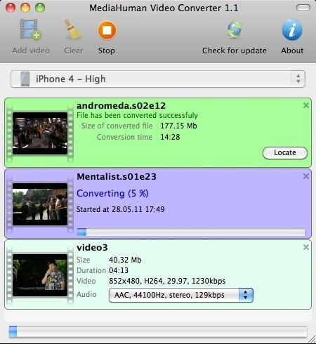 Capture d'écran MediaHuman Video Converter MAC