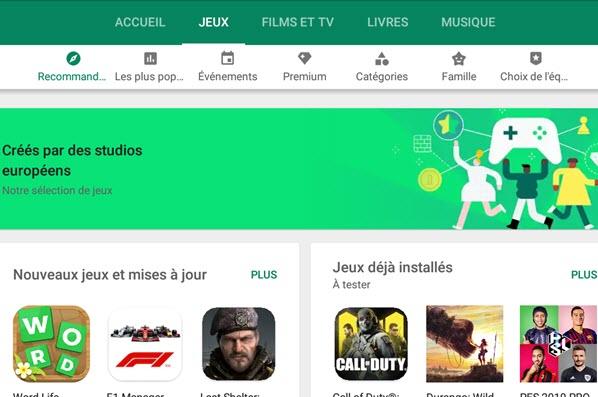 Capture d'écran Google Play Store