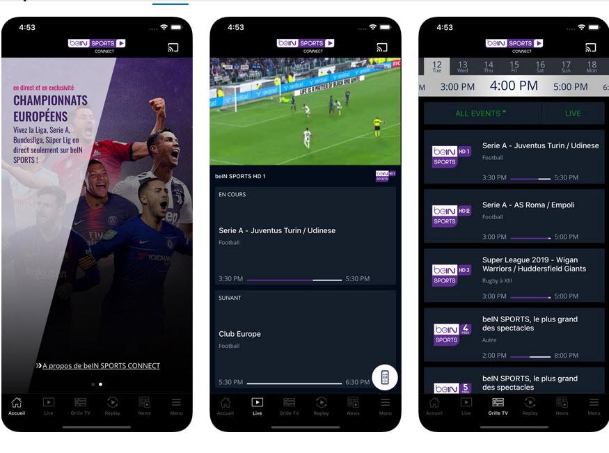 Capture d'écran beIN Sports iOS