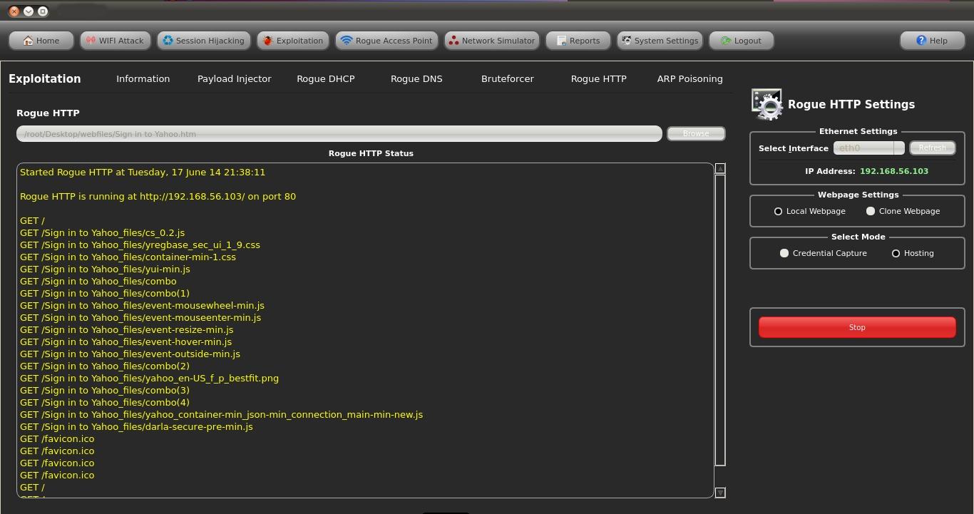 Capture d'écran Fern Wifi Cracker