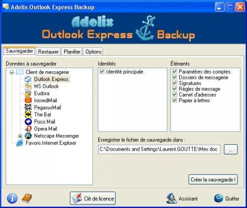Capture d'écran Adolix Outlook Express Backup