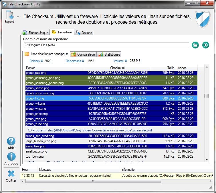 Capture d'écran File Checksum Utility