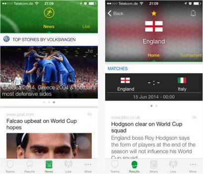 Capture d'écran Onefootball Brésil iOS