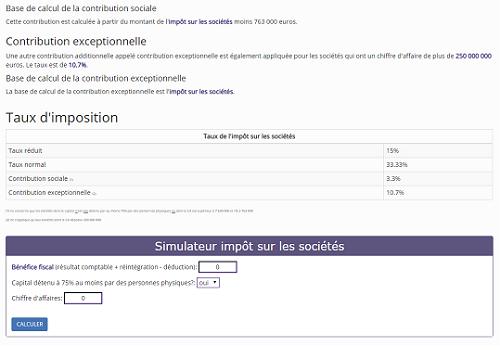 Capture d'écran Simulateur impôt sur les sociétés