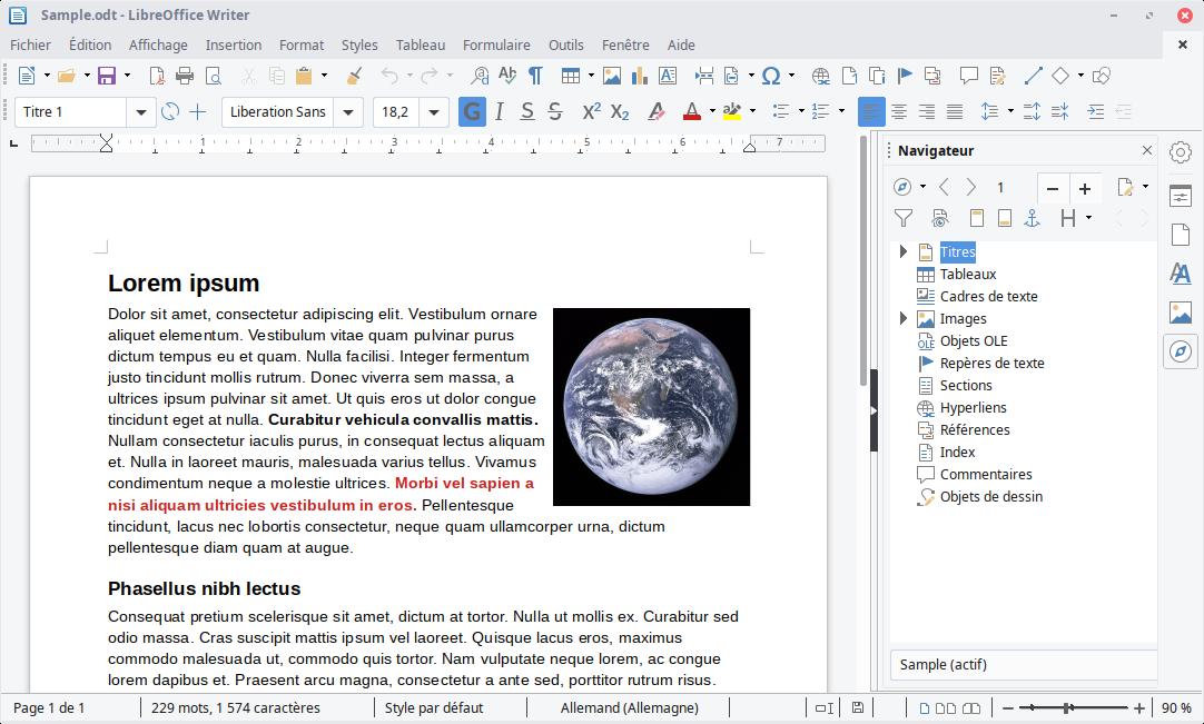 Capture d'écran LibreOffice