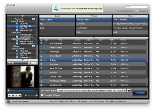 Capture d'écran 4Videosoft Transfert iPod-Mac
