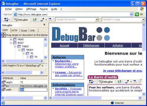 Capture d'écran DebugBar