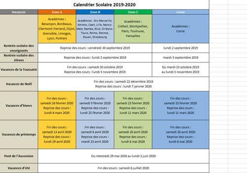 Capture d'écran Calendrier Vacances Scolaires 2019-2020
