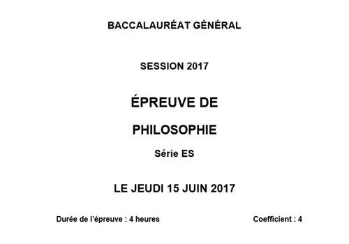 Capture d'écran Bac 2017 Philosophie – Série ES