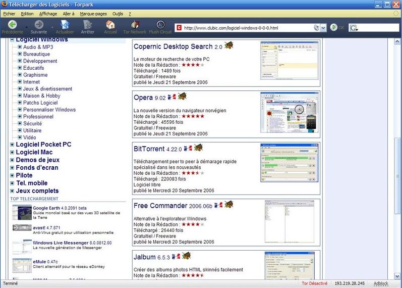 Capture d'écran Torpark