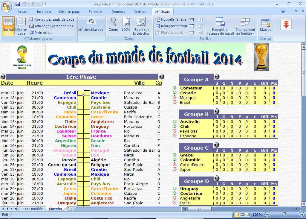 Capture d'écran Calendrier suivi Coupe du monde 2014