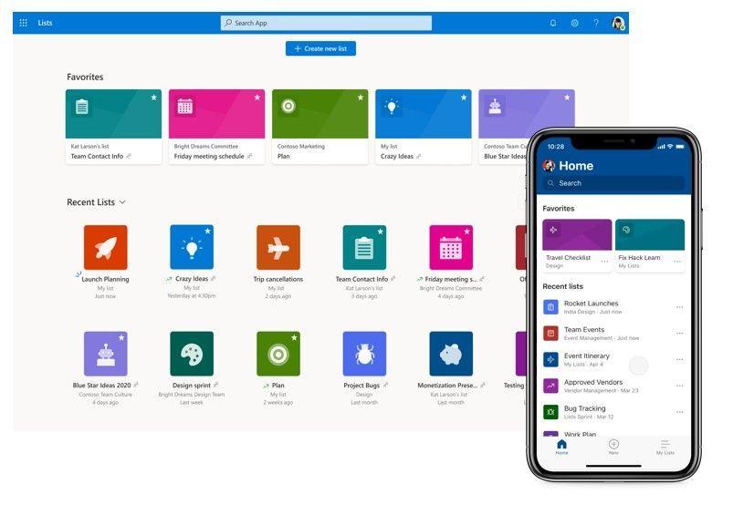 Capture d'écran Microsoft Lists