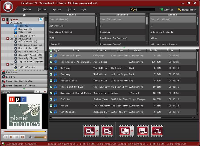 Capture d'écran 4Videosoft Transfert iPhone 4S