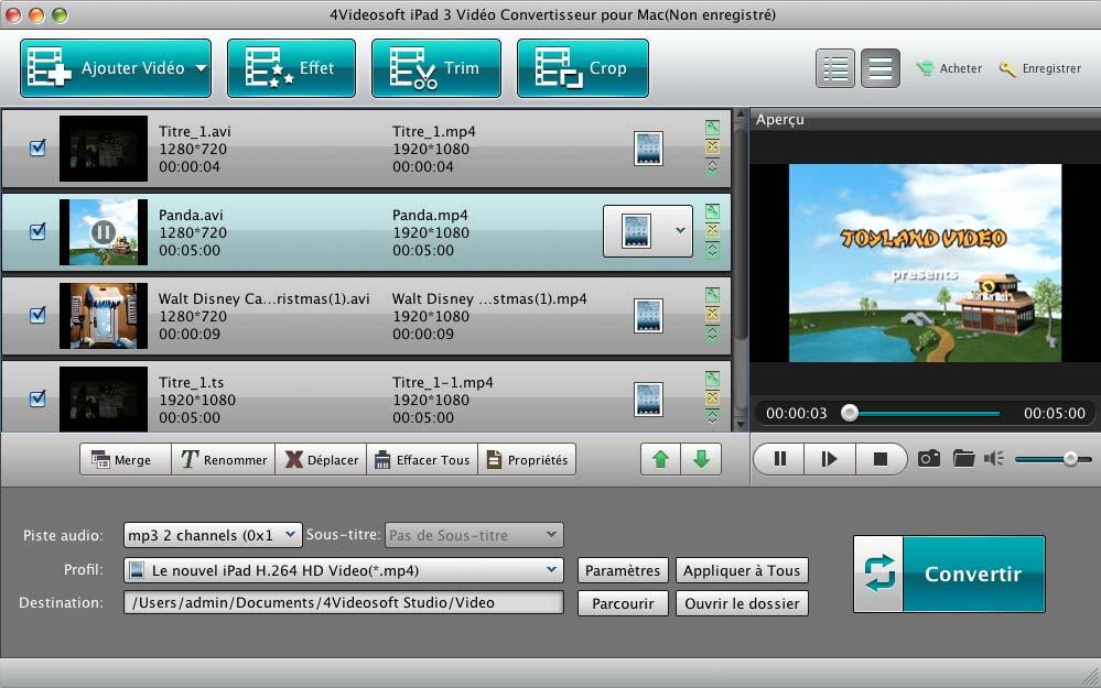 Capture d'écran 4Videosoft iPad 3 Vidéo Convertisseur pour Mac