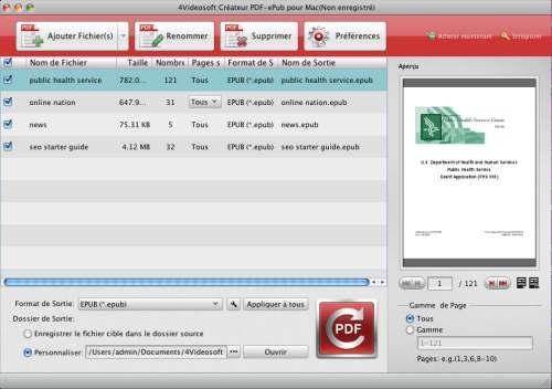 Capture d'écran 4Videosoft Créateur PDF-ePub pour Mac