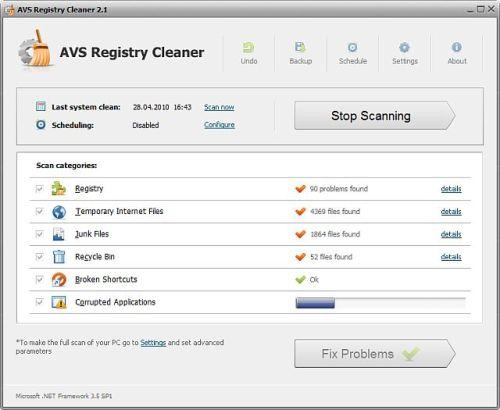 Capture d'écran AVS Registry Cleaner