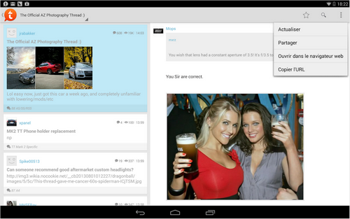 Capture d'écran Tapatalk Android
