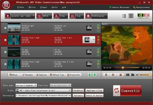 Capture d'écran 4Videosoft AVI Vidéo Convertisseur