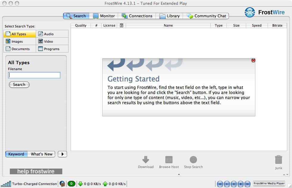 Capture d'écran Frostwire Mac