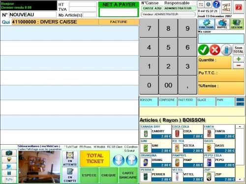 Capture d'écran A2GI – COMMERCE